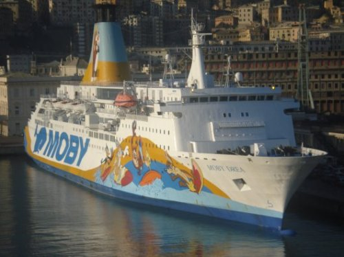 Moby ferry in Genoaharbour