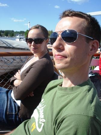 Jonna and Jarkko enjoying the sun
