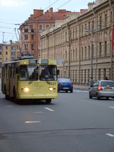 Typical street view with trolley bus at Bolshoi Prospekt